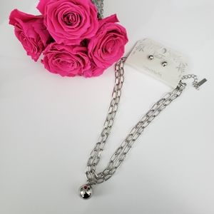 Silver Wrap Necklace Ball Pendant/Earrings
